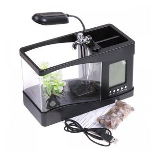 USB Mini Desktop Fish Tank Aquarium LED Lamp Light LCD Clock Home Office Decorat