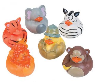 12 Rubber Ducks Duckies Safari Zoo Animal Baby Shower Cake Toppers Party Favors