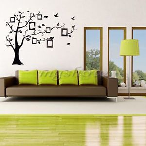 Black Photo Frame Home Room Family Tree Bird Wall Decal Art Sticker Label Paper