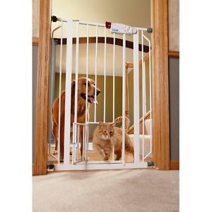 Extra Tall Pet Dog Gate w SM Cat Door Baby Child Proof Walk thru Indoor Safety