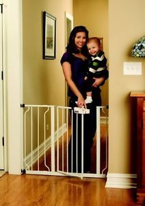 New Baby Child Dog Pet Metal Walk thru Gate w Swing Open Door and Extensions Kit
