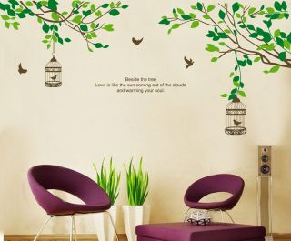 Colourful Flower Tree Owl Wall Stickers Decor Art Mural Decal Nursery Bedroom