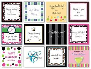 24 Custom Personalized Adult Birthday Gift Cards Gift Bag Tags