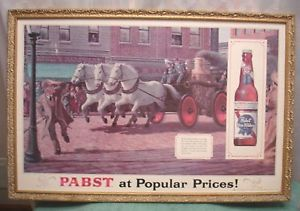 Vintage Pabst Blue Ribbon Fire Engine Horse Team Beer Sign P 603