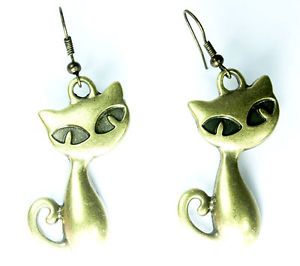Vintage Kitty Cat Drop Earrings Brass Bronze Tone Jewelry Gift for Animal Lovers