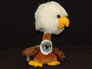 Pratt Whitney Engine Bobble Head American Bald Eagle Plush Stuffed Animal Ad Toy