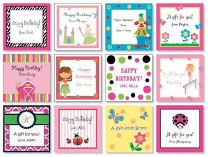 24 Custom Personalized Girls Birthday Gift Cards Gift Bag Tags