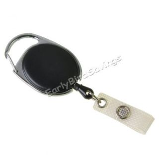 Black PC Carabiner Style Retractable Key ID Card Badge Key Reel Holder Belt Clip