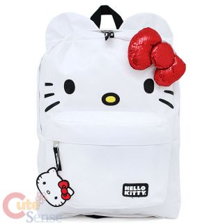 "Sanrio Hello Kitty School Backpack Bag 3D Bow Ear 16""L"