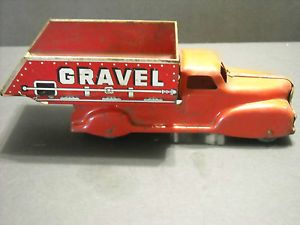 Vintage Marx Toy Sand and Gravel Red Dump Truck Wood Wheels