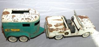 Vintage Nylint Pressed Steel Truck and Horse Trailer