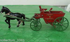 Kenton Cast Iron Horse Drawn Sand Gravel Wagon Toy