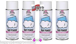 "4 Pet Grooming ""Baby Powder"" Pro Aerosol Spray Cologne Deodorant Perfume Dog Cat"