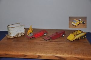 Lot 5 Vintage Toy Parts Horse Trailer Fire Truck Trailers Belly Dump Truck