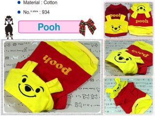 Small Dog Clothes Pooh Costume Apparel Hoodie Shirt 934