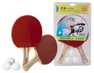 Double Fish Two Table Tennis Bats Three Balls Pack