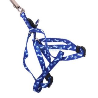 Bone Paws Print Small Dog Pet Puppy Nylon Adjustable Leash Lead Harness Tool