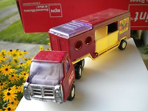 Buddy L Horse Transport 10 inch Semi Truck Trailer Pressed Steel Toy