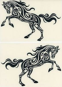 Arabian Stallion Decal Pair Tribal Tattoo for Horse Trailer Set Two Med Black