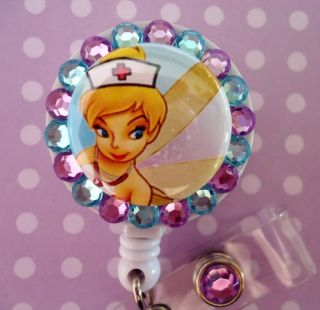 Tinkerbell Nurse Bling Retractable ID Reel Badge Holder