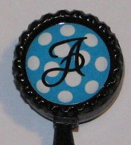 Turquoise Polka Dot Initial ID Badge Holder w Retractable Reel