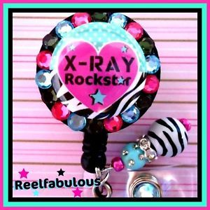 X Ray Tech Retractable ID Reel Badge Holder with Charm