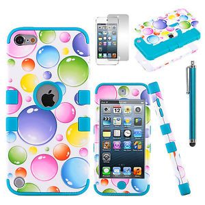 Hybrid Blue Bubble Combo Hard Silicone Case Cover Film for iPod Touch 5 5th Gen
