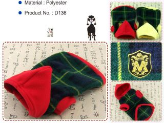 Dog Cat Clothes Warm Hoodie Shirts Pet Apparel Check Pattern Coats Green D136
