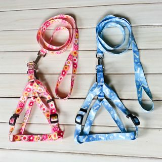 New Large Medium Pet Dog Cloth Adjustable Harness and Leash Set Blue Pink