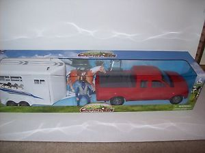 New Ray Pickup Horse Trailer Set Includes Truck Horse Rancher Pickup Truck
