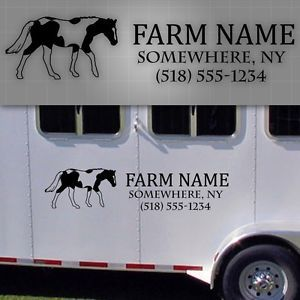 "Horse Trailer Lettering Horse Trailer Farm Decals Farm Truck Name 48"" x 16"""
