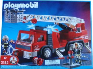 Playmobil Rescue Ladder Unit Fire Truck 3182 New SEALED in Box RARE Retired Toy