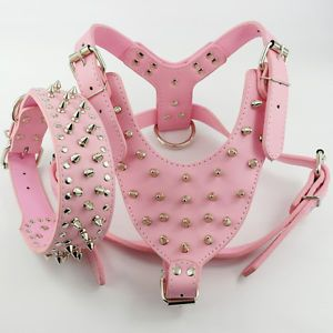 3 Size Pink Leather Studded Dog Harness Collar Set for Pitbull Bully Soft