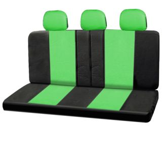 23pc Full Set Leather Green Black Van Seat Covers Buckets Bench Wheel Head Belt