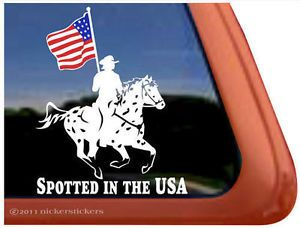 Spotted in The USA Leopard Appaloosa Drill Team Horse Trailer Decal Sticker