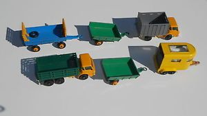 Lot of 6 Matchbox Black Wheel Trucks Cattle Stake Hay Wagon Horse Trailer Look