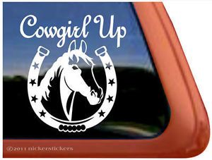 Cowgirl Up High Quality Vinyl Horse Shoe Horse Trailer Window Decal Sticker