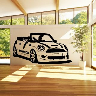 Mini Cooper Convertable Vinyl Wall Art Car Sticker Room Decal