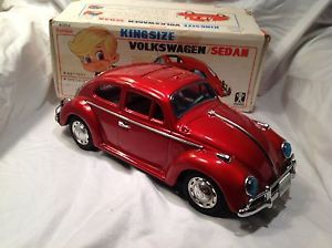 Bandai King Size Volkswagen Beetle Battery Operated Model Car with Box Vintage