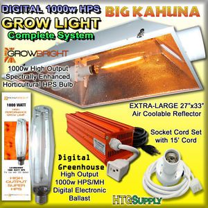 Digital 1000 Watt HPS Grow Light w XXXL Hood Magnum 6""
