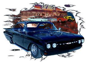 1960 Black Chevy Impala B Custom Hot Rod Diner T Shirt 60 Muscle Car Tee'S