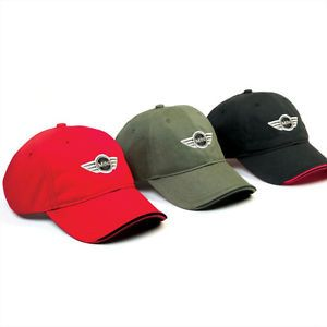 Mini Cooper Black Red or Olive Recycled Unstructured Logo Cap Hat New