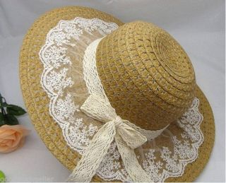 Womens Girl Lace Bow Wide Large Brim Straw Derby Cap Summer Beach Sun Hat