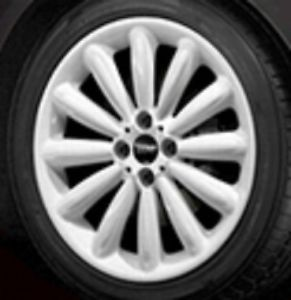 "Mini Cooper 17"" R116 White Infinite Stream Rim Wheel with Hubcap New"