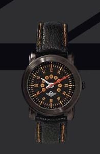 Mini Cooper Black Speedometer Wristwatch Watch Leather Strap New