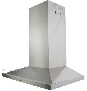 "30"" Professional Stainless Steel Ventless Range Hood Wall Mount Baffle LED Light"