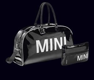 Mini Cooper Black Big Duffle Bag Logo Pouch Set New