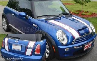 2 Color Rally Racing Stripe Stripes Pin Fit Any Mini Cooper Countryman Clubman