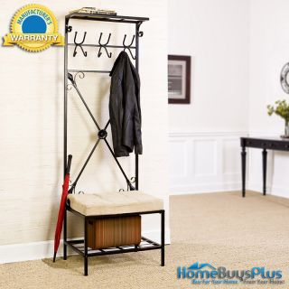 Black Storage Hall Tree Bench Seat Coat Rack