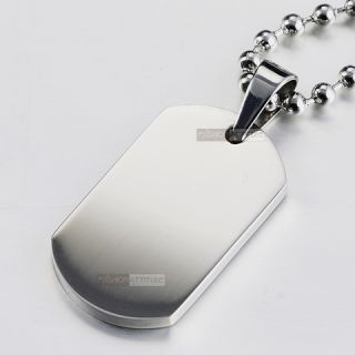 Pendant Necklace Stainless Steel Plain Silver Dog Tag Engravable Small